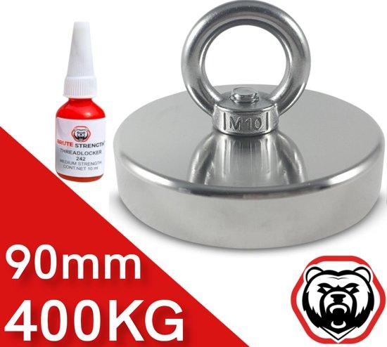 Super sterke vismagneet 350 kg - voor magneetvissen / onderwater vis magneet met schroefdraadborgmiddel (10 ml)