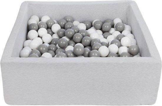 Zachte Jersey baby kinderen Ballenbak met 300 ballen, 90x90 cm - wit, grijs