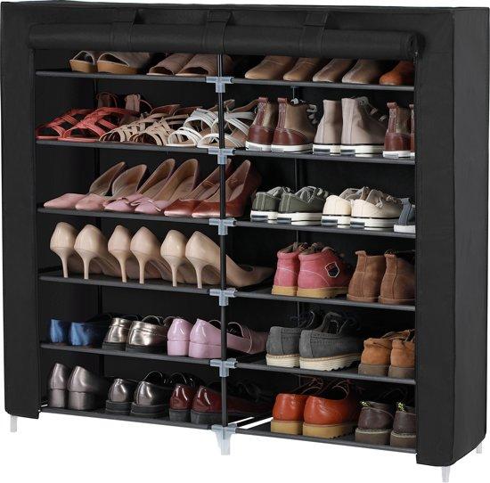 Schoenenkast Voor 36 Paar Schoenen.Songmics Schoenenkast 7 Lagen Voor 36 Paar Schoenen Schoenenrek Stofdicht Zwart