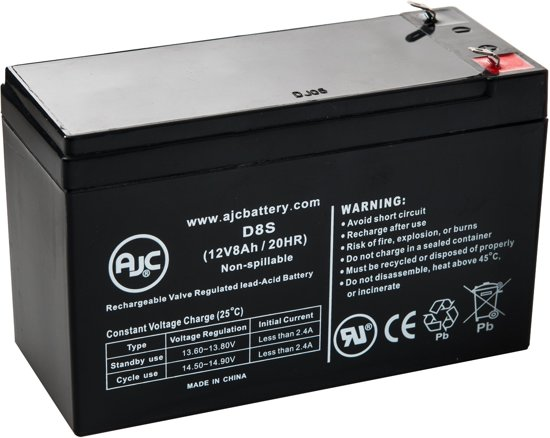 AJC® battery compatibel met Enduring 6FM7.5 12V 8Ah Lood zuur accu