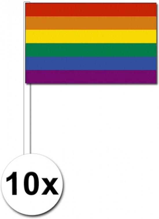 10 regenboog zwaaivlaggetjes