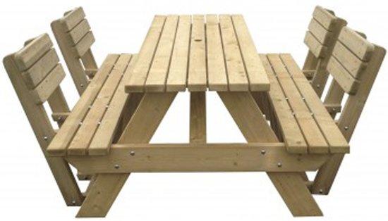 MaximaVida luxe houten picknicktafel 180 cm inclusief 4 rugleuningen- 40 mm houtdikte