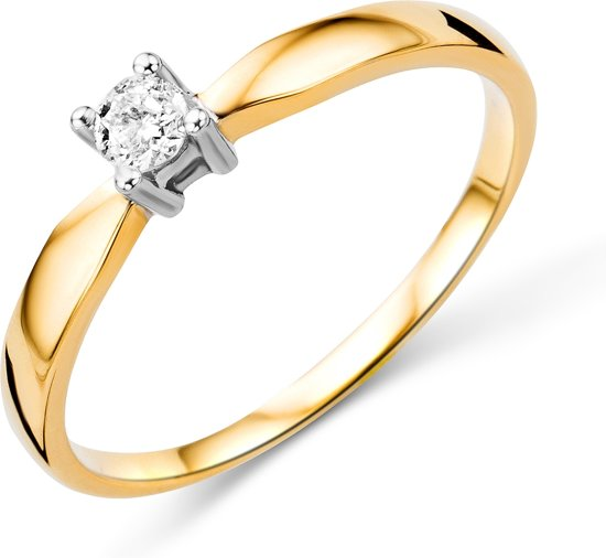 Majestine Soltair Ring 14 Karaat Goud (585), Geel/Witgoud met Diamant 0.10ct maat 52
