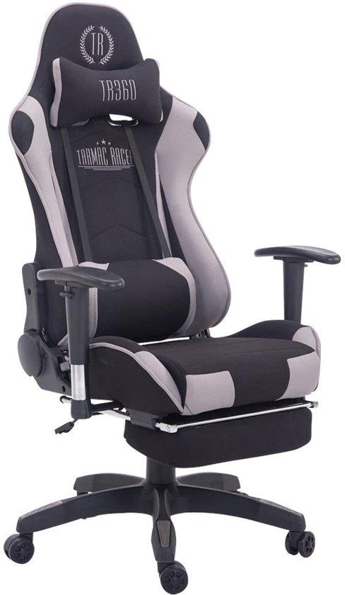 Clp Managerstoel TURBO directiestoel, Gaming chair met voetsteun, hoogte verstelbaar, ergonomisch, belastbaar tot 150 kg, stof - zwart/grijs