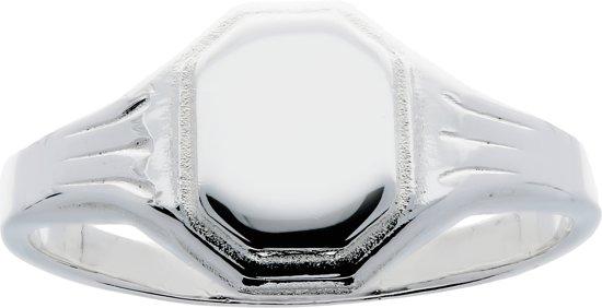 Lilly kinderring - zilver - achthoek plaatje - monogram - maat 42