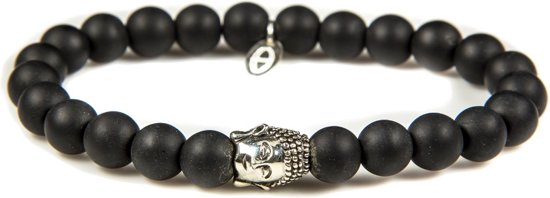 Karma Silver Buddha Black Is Black Armband 86116
