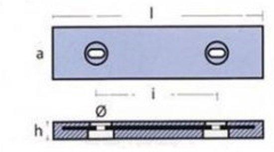 Zink anode met RVS strip 455X105X40 (TEN00275E)