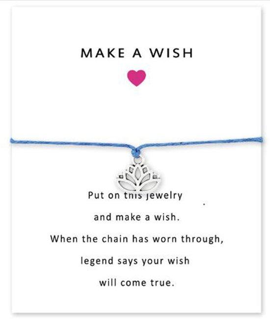 Bol Wenskaart Make A Wish Armband Met Zilver Lotus Hangertje