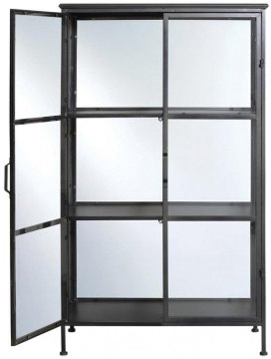 Metalen Stellingkast Zwart.Bol Com Stellingkast Metaal Glas Zwart Metaal Rechthoek 3 Laags