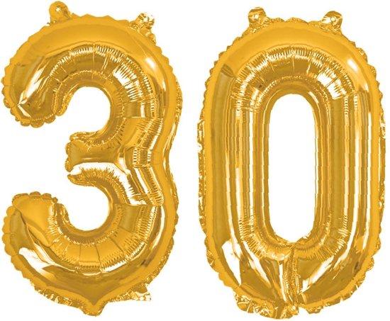 Neviti '30' jubileum cijfer folieballon - goud - Set-1 Valentinaa