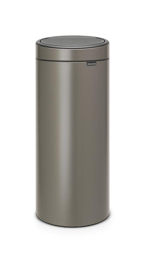 Afvalbak Touch Bin.Brabantia Touch Bin New Prullenbak 30 L Platinum