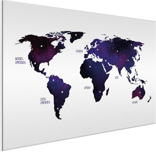 Wereldkaarten.nl - Wereldkaart voor aan de muur Aluminium Paars 80x60 cm