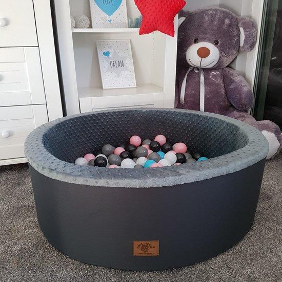 Ballenbak - stevige ballenbad - 90 x 40 cm - 200 ballen - wit,grijs, zwart, roze en blauw