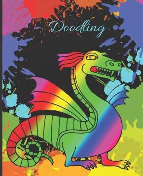 Rainbow Striped Dragon Colorful Splatter Cute Gift Sketch Book Blank Paper Pad Journal for Doodling Sketching Coloring or Writing