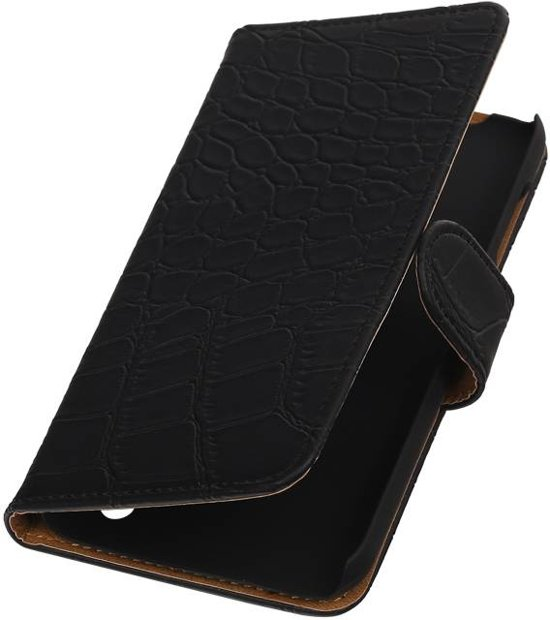 Croco Bookstyle Hoes voor Huawei Ascend Y625 Zwart
