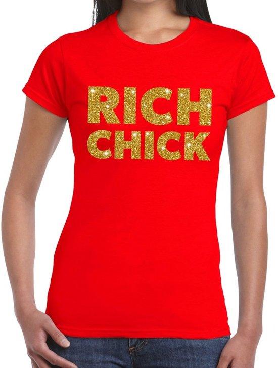 Rich chick goud glitter tekst t-shirt rood dames XL