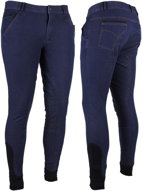 QHP Rijbroek Denim Man Anti Slip - Blue Denim - 50