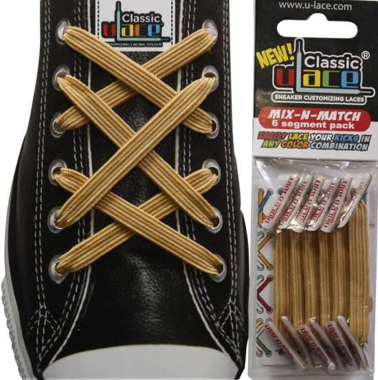 Ulace Veters voor sneakers met 6 gaatjes Metallic Gold / Goud - Elastiek