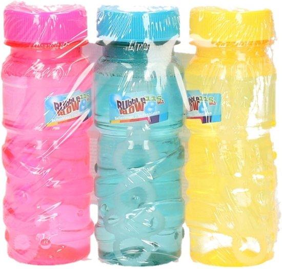Gekleurde bellenblaas flesjes 3 stuks 115ml roze/blauw/geel Valentinaa