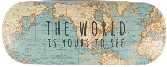 brillenkoker met wereldkaart
