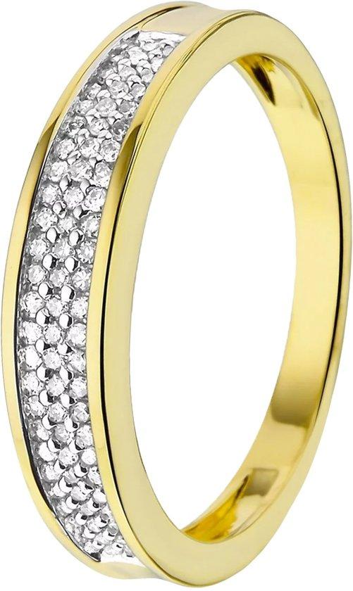 Lucardi 14 Karaat Geelgouden Ring - Met Diamant - Maat 55