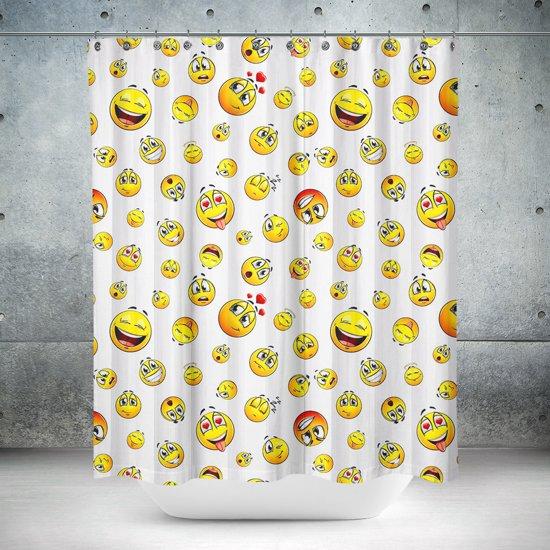 Roomture - douchegordijn - Smiley - 120 x 200