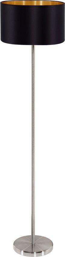EGLO Maserlo - Vloerlamp - 1 Lichts - ø380 mm. - Nikkel-Mat - Zwart - Goud