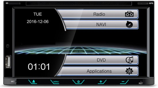 Bluetooth autoradio navigatie systeem NISSAN Almera, Latio, Sunny 2012+; Tiida 2004-2010; X-Trail 2001-2014; Qashqai 2007-2013, Patrol 1997-2009; Juke 2010+; Cube 2008+; Versa 2007-2014 inclusief inbouwpaneel Audiovolt 11-123 in Zittard