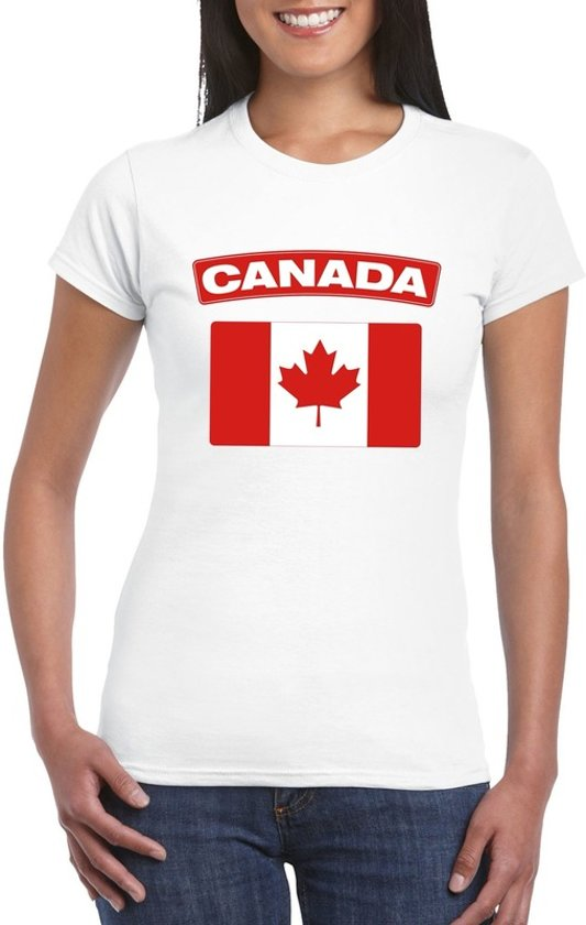 Canada t-shirt met Canadese vlag wit dames - maat L