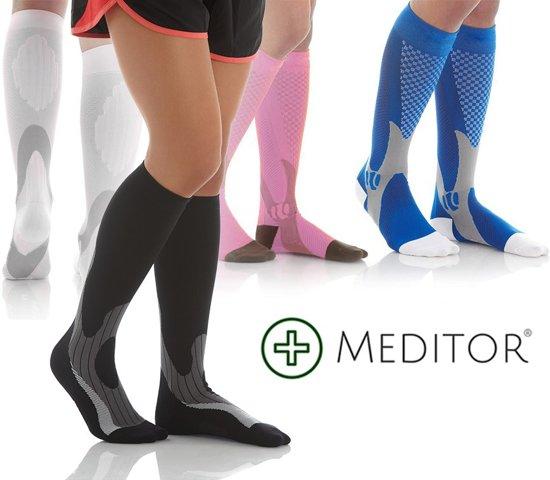 MeditorPlus Sport Compressiesokken - Zwart - S/M - 2-pack
