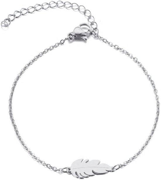 RVS veer armband 17-20 cm   veertje   bff
