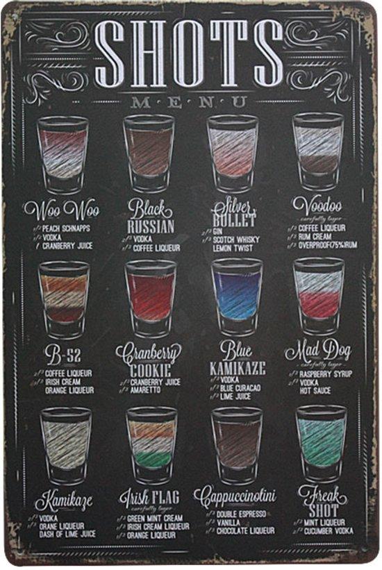 Shots menu Metalen wandbord decoratie Drank Cocktail Horeca Bar TH Commerce 183
