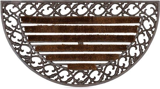 relaxdays deurmat gietijzer borstels, voetmat, voetveger, metaal, welcome antiek A