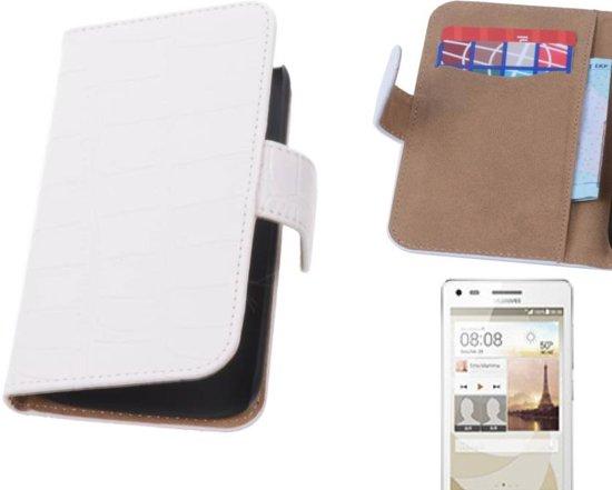 MP Case Croco Bookstyle Hoes voor Huawei Ascend G6 4G Wit in Galhoeke / De Galhoek