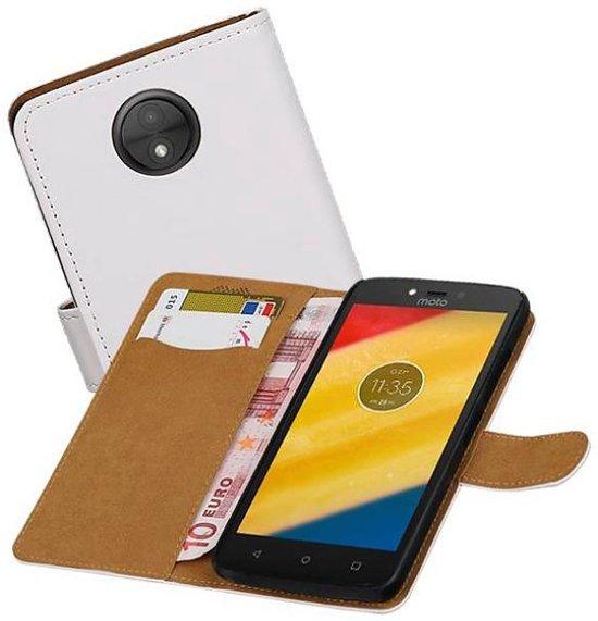 Mobieletelefoonhoesje.nl - Motorola Moto C Hoesje Effen Bookstyle Wit in Orvelte