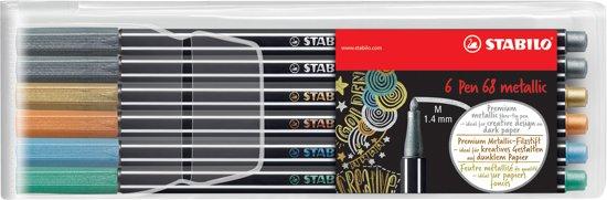 STABILO Pen 68 Metallic Viltstiften - Etui 6 stuks