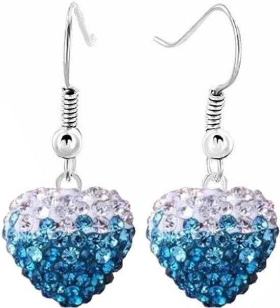 Fako Bijoux® - Oorbellen - Disco Dots - Hanger - Hart Duo - Lichtblauw