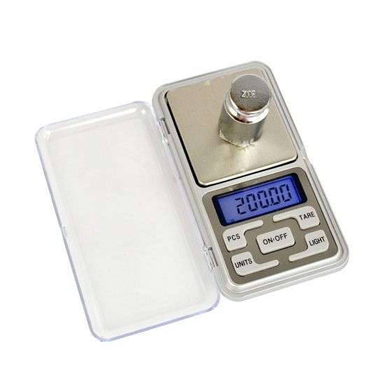 Kitchen Brothers Precisie Weegschaaltje – Luxe Mini Zakweegschaal – Mini Keuken Weegschaal – Pocket Sieraden & Juwelen Weegschaal – Nauwkeurige Digitale Keukenweegschaal 0,10 – 200 Gram – Inclusief Baterijen