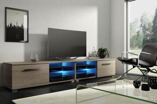 Tv Kast Meubel Hout 200 Cm Modern Design Inclusief Led
