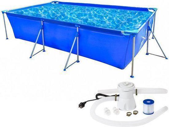 Tectake zwembad swimming pool met pomp for Zwembad rechthoekig met pomp