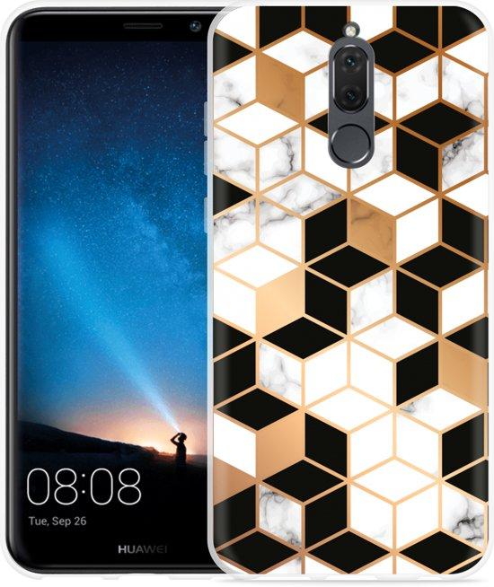 Huawei Mate 10 Lite Hoesje Black-white-gold Marble