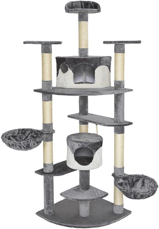 TecTake Katten krabpaal Fippi - 201 cm hoog - grijs wit - 402184