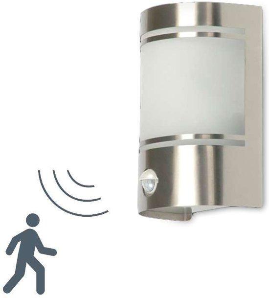 Ranex 10.010.26 Wandlamp voor Buiten, Bewegingssensor, Geborsteld Aluminium, Halfrond, E27 Fitting