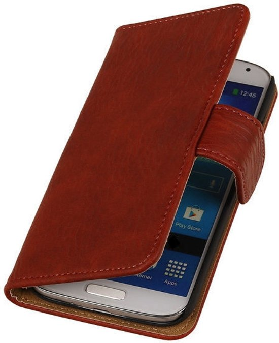 MP Case Rood Hout Design Samsung Galaxy Grand Neo Book Wallet Case in Sion