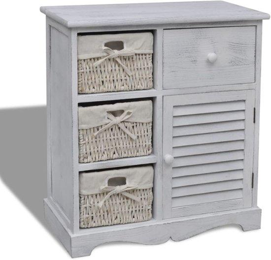 vidaXL Opbergkast met 3 rattan manden hout wit
