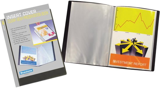 5x 5 Star personaliseerbaar showalbum, A4, 100 tassen, zwart