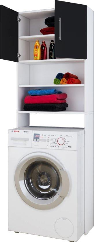bol.com | Wasmachinekast wasmachine ombouw Jutas (zwart / wit)