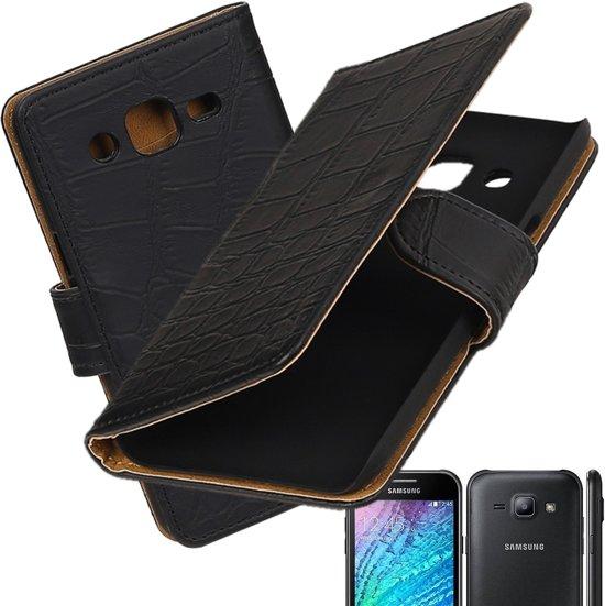 MP Case Zwart Krokodill design PU leder hoesje voor Samsung Galaxy J2 Booktype - Telefoonhoesje - smartphonehoesje - beschermhoes. in Het Vorst / Vorst