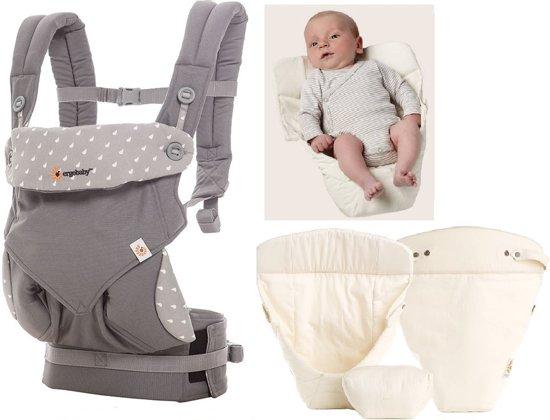 Ergobaby Geboortepakket: babydraagzak 360 Dewy grey incl. verkleinkussen Original natural
