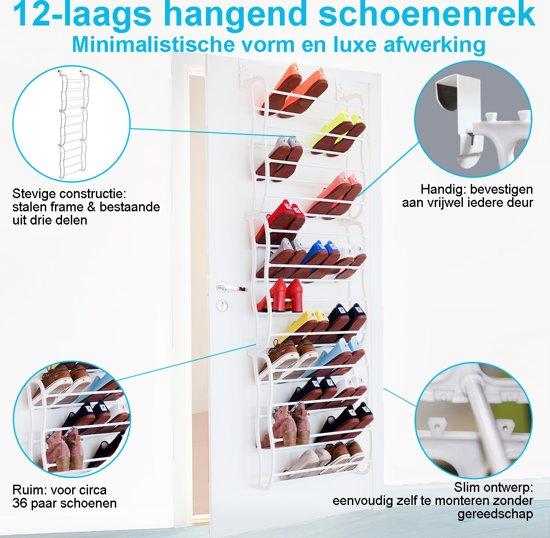 LifeGoods XXL Schoenenrek Deurhanger 12 Laags - Opbergsysteem voor 40 Paar Schoenen - Hangende Schoenenkast 12 Etages – Schoenenplank Opberger – Stevig Staand Ophangbaar Opberg Rek - Shoe Rack Organizer - Metaal – Wit